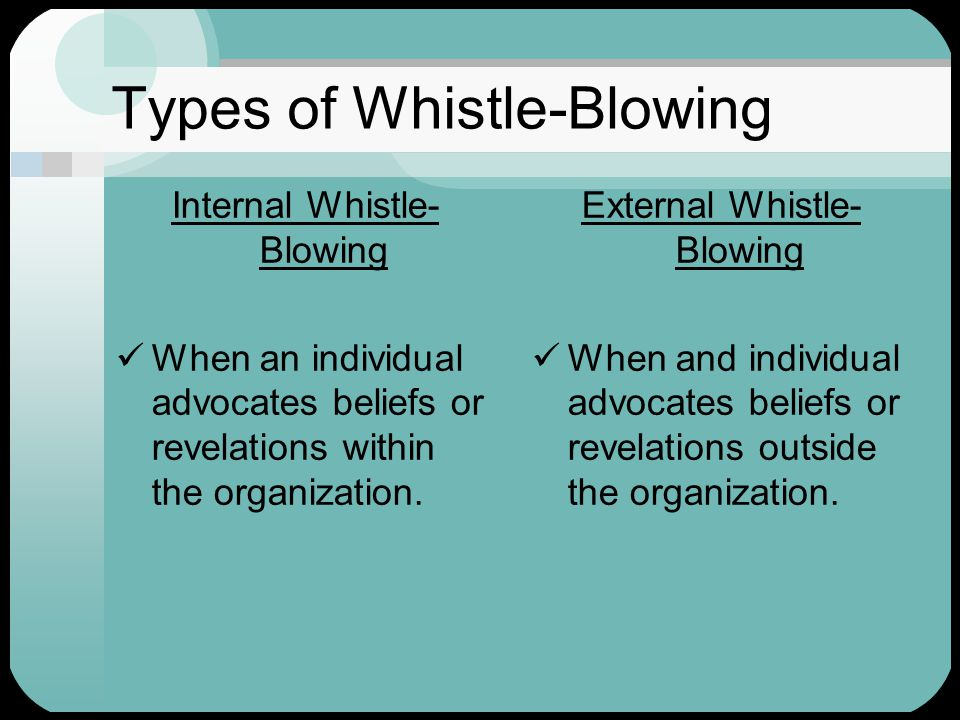 Definition of Whistle-Blowing  One who reveals wrong-doing within an organization to the public or to those in positions of authority.  One who disc