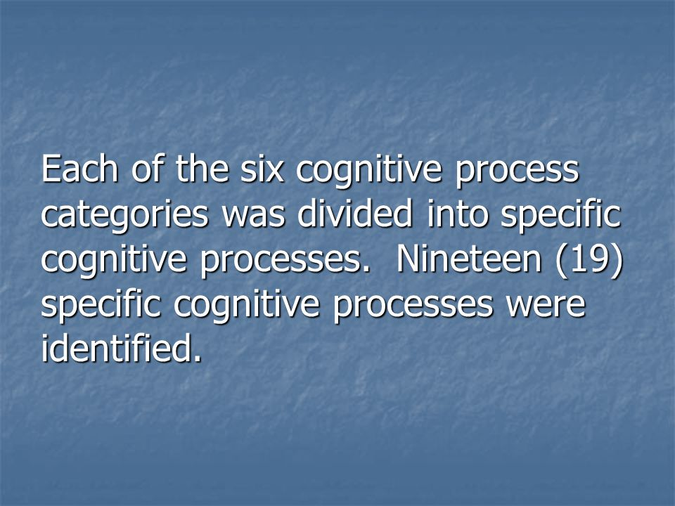 Each of the six cognitive process categories was divided into specific cognitive processes. Nineteen (19) specific cognitive processes were identified