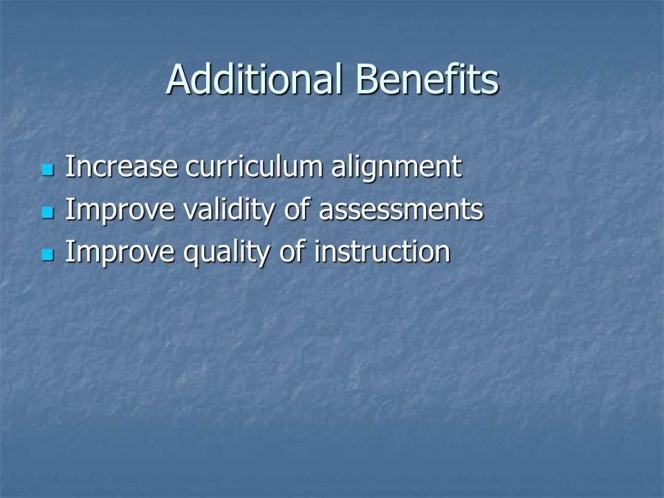 Additional Benefits Increase curriculum alignment Increase curriculum alignment Improve validity of assessments Improve validity of assessments Improv