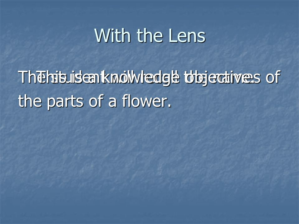 With the Lens The student will recall the names of the parts of a flower. This is a knowledge objective.