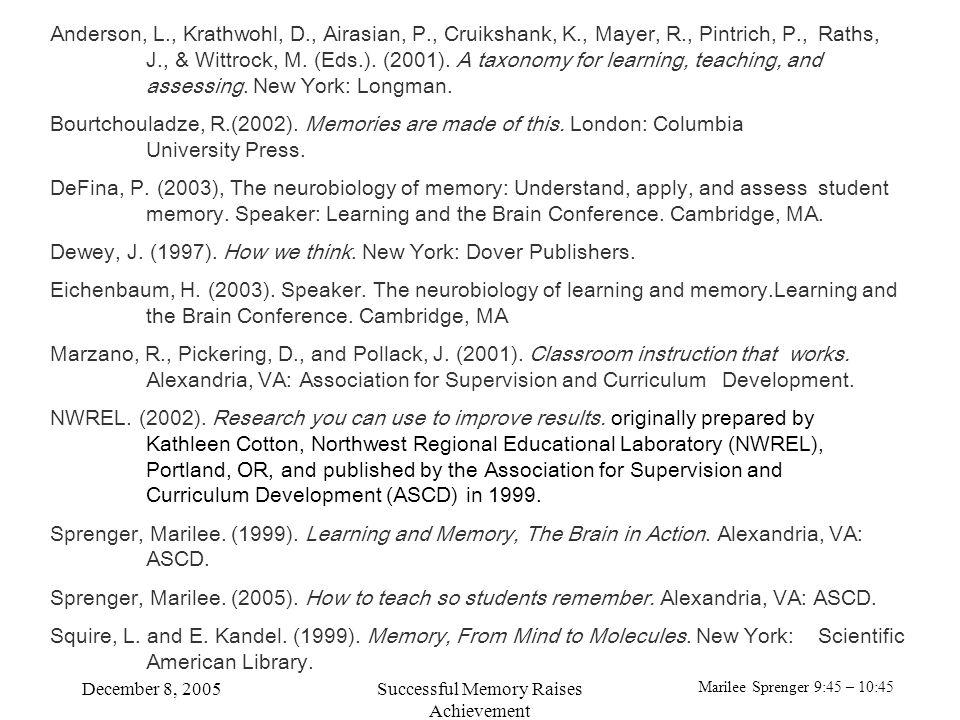 Marilee Sprenger 9:45 – 10:45 December 8, 2005Successful Memory Raises Achievement Anderson, L., Krathwohl, D., Airasian, P., Cruikshank, K., Mayer, R., Pintrich, P., Raths, J., & Wittrock, M.