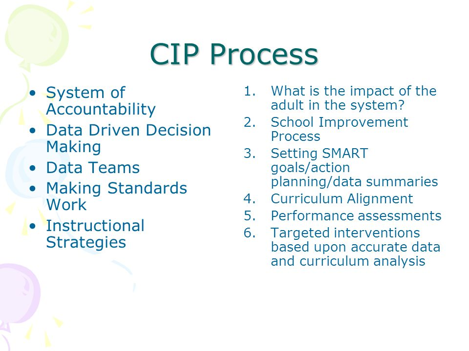 CIP Process System of Accountability Data Driven Decision Making Data Teams Making Standards Work Instructional Strategies 1.What is the impact of the adult in the system.