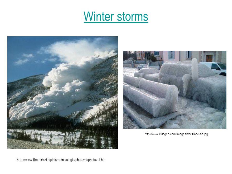 Winter storms http://www.kidsgeo.com/images/freezing-rain.jpg http://www.ffme.fr/ski-alpinisme/nivologie/photaval/photaval.htm