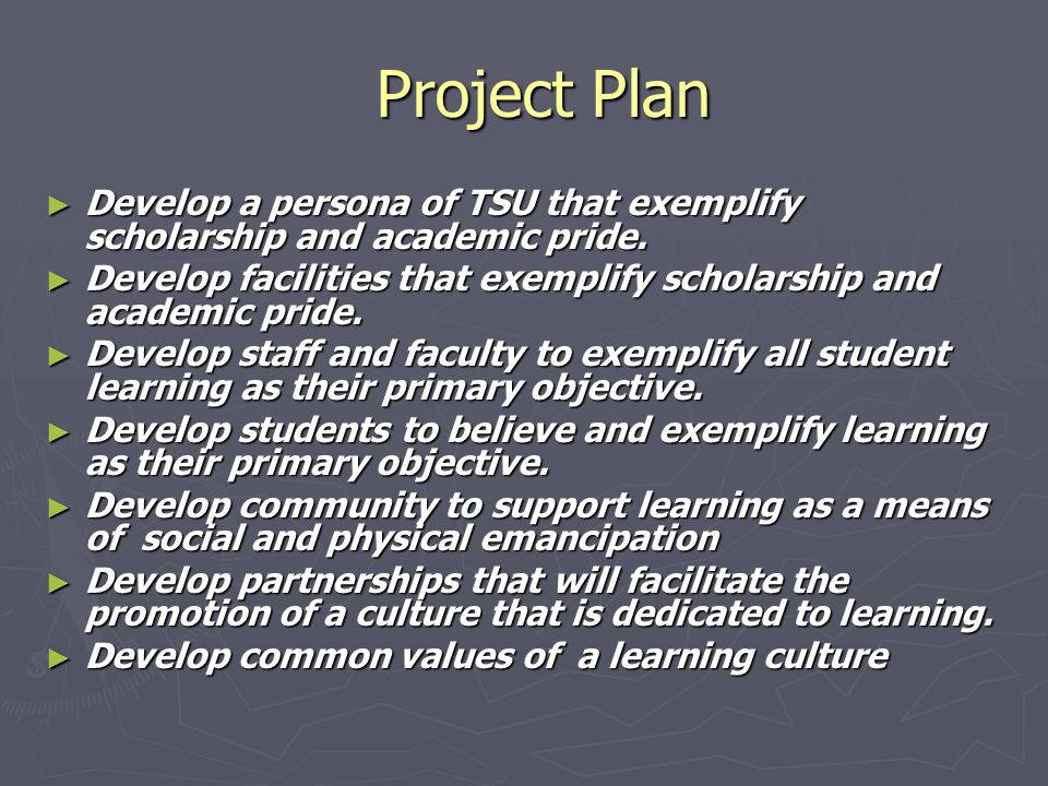 Project Plan Project Plan ► Develop a persona of TSU that exemplify scholarship and academic pride.