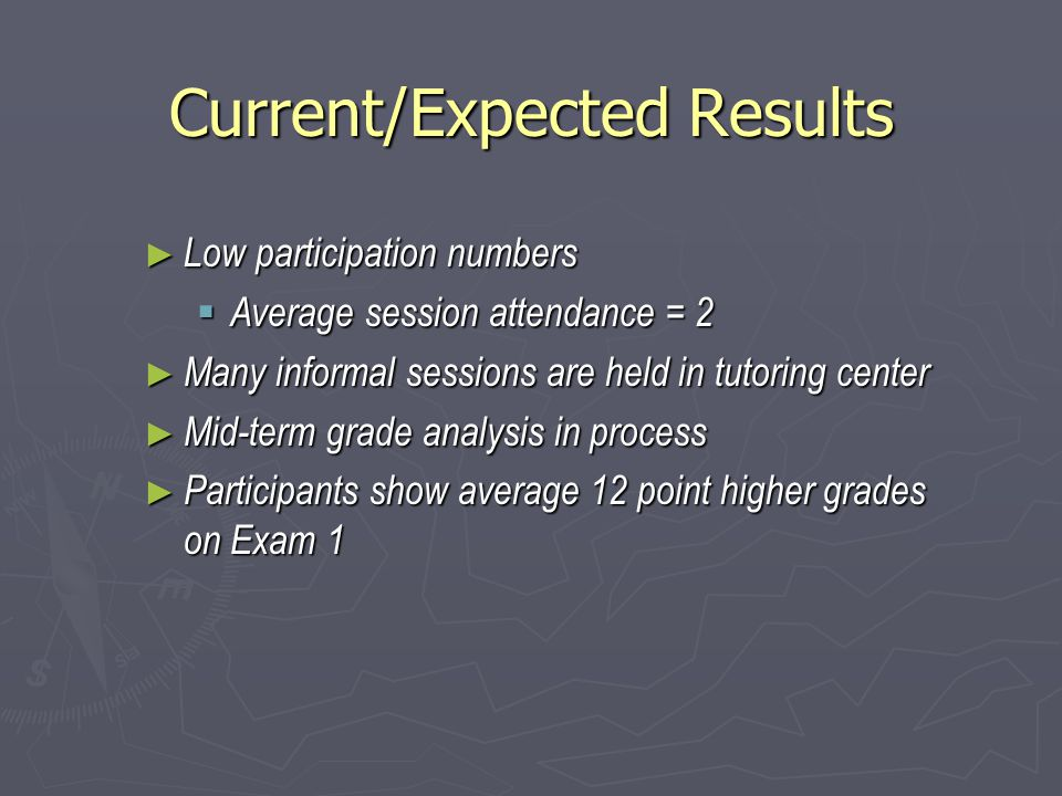 Current/Expected Results ► Low participation numbers  Average session attendance = 2 ► Many informal sessions are held in tutoring center ► Mid-term grade analysis in process ► Participants show average 12 point higher grades on Exam 1