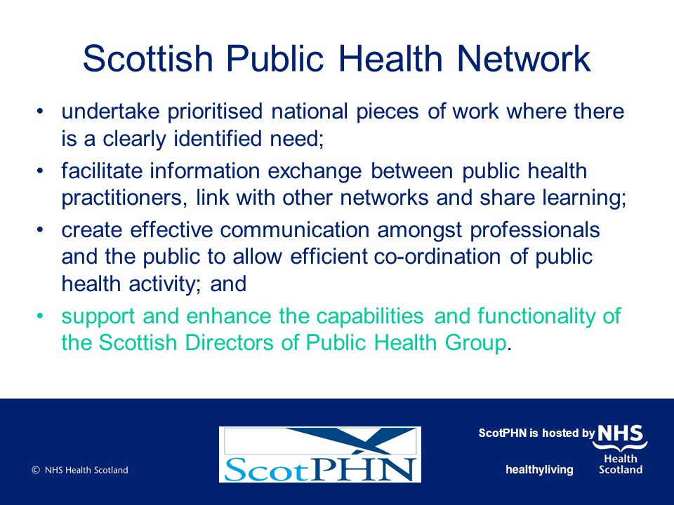 New Ways of Working - Background Public sector financial restructuring NHSScotland Quality Strategy - emphasis on quality (and cost- efficiency) Public health Directorate must meet competing demands: –ensuring further progress in delivering health improvement and health inequality reduction against national targets; –refocusing resources on effectiveness in health service planning and development; and –maintaining appropriate health protection capacity to meet demands such as that exemplified by the H1N1 Pandemic.