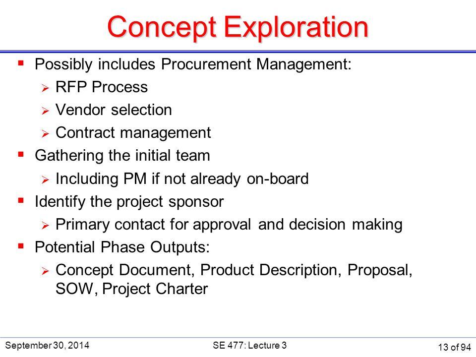 Concept Exploration  Possibly includes Procurement Management:  RFP Process  Vendor selection  Contract management  Gathering the initial team 
