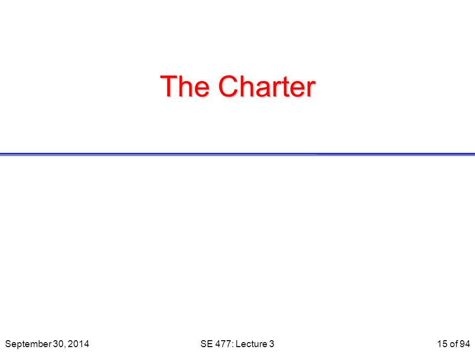 The Charter September 30, 2014SE 477: Lecture 315 of 94