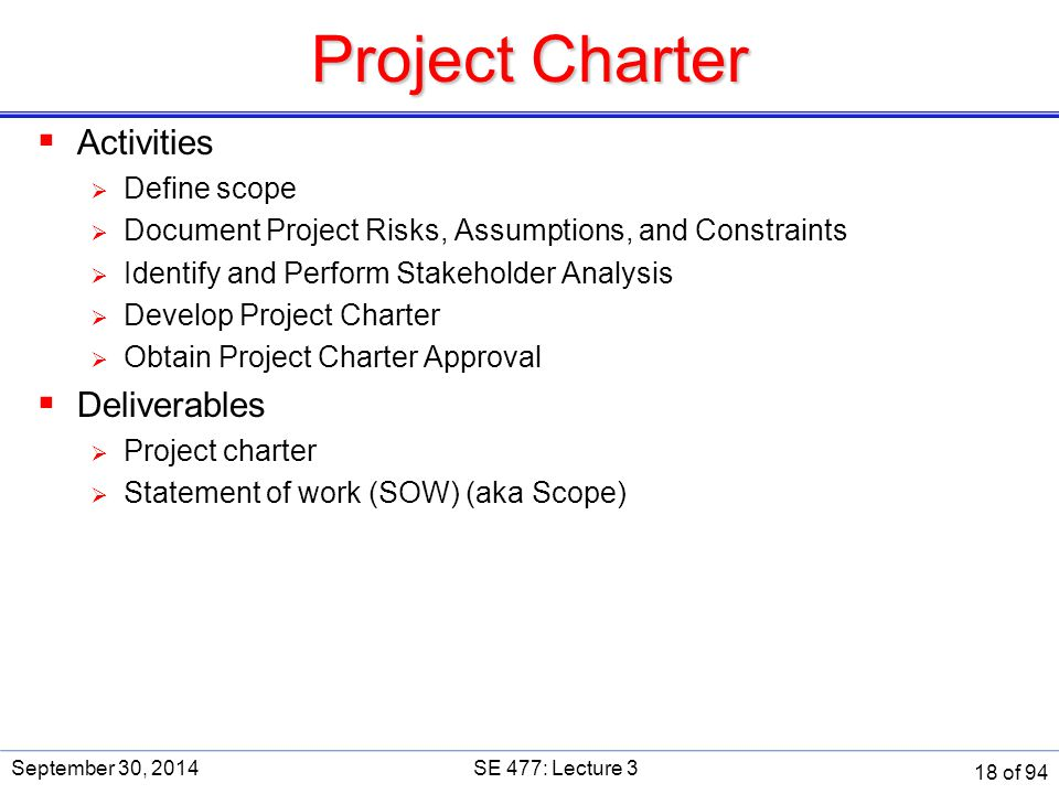 Project Charter  Activities  Define scope  Document Project Risks, Assumptions, and Constraints  Identify and Perform Stakeholder Analysis  Devel