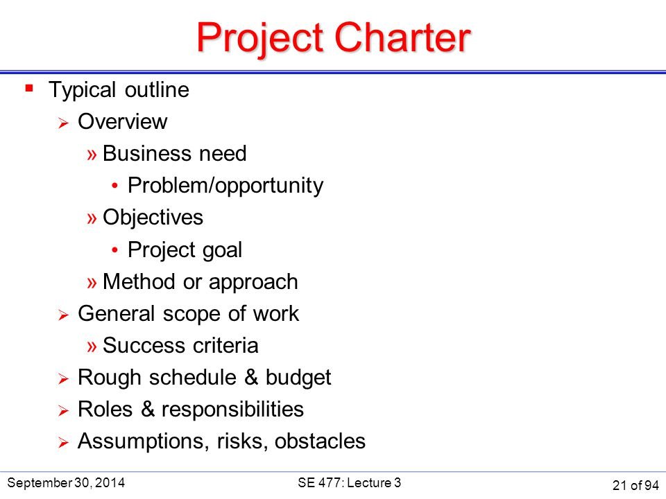 Project Charter  Typical outline  Overview »Business need Problem/opportunity »Objectives Project goal »Method or approach  General scope of work »