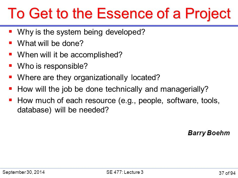 To Get to the Essence of a Project  Why is the system being developed?  What will be done?  When will it be accomplished?  Who is responsible?  W