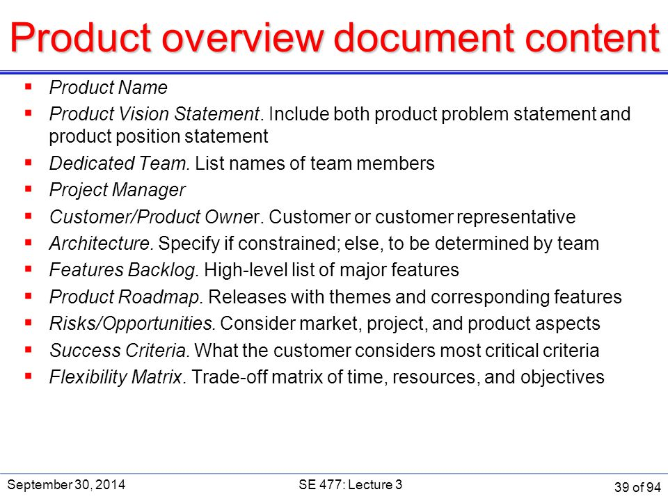 Product overview document content  Product Name  Product Vision Statement. Include both product problem statement and product position statement  D