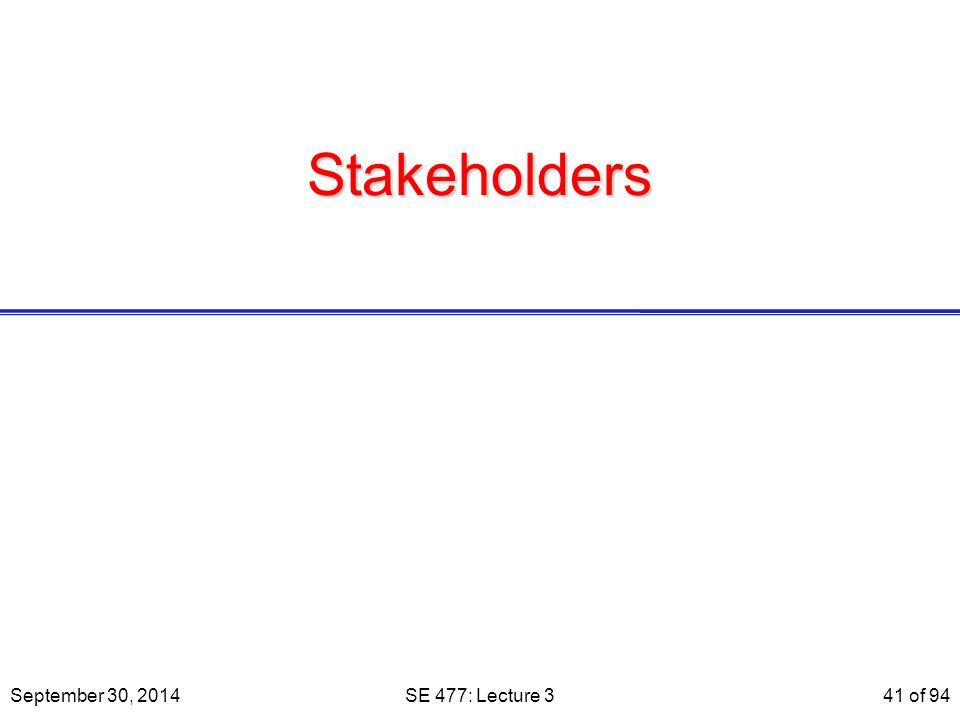 Stakeholders September 30, 2014SE 477: Lecture 341 of 94