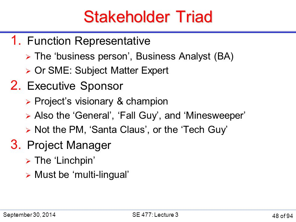 Stakeholder Triad 1. Function Representative  The 'business person', Business Analyst (BA)  Or SME: Subject Matter Expert 2. Executive Sponsor  Pro