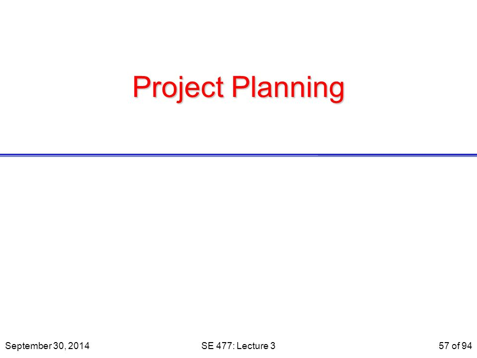 Project Planning September 30, 2014SE 477: Lecture 357 of 94