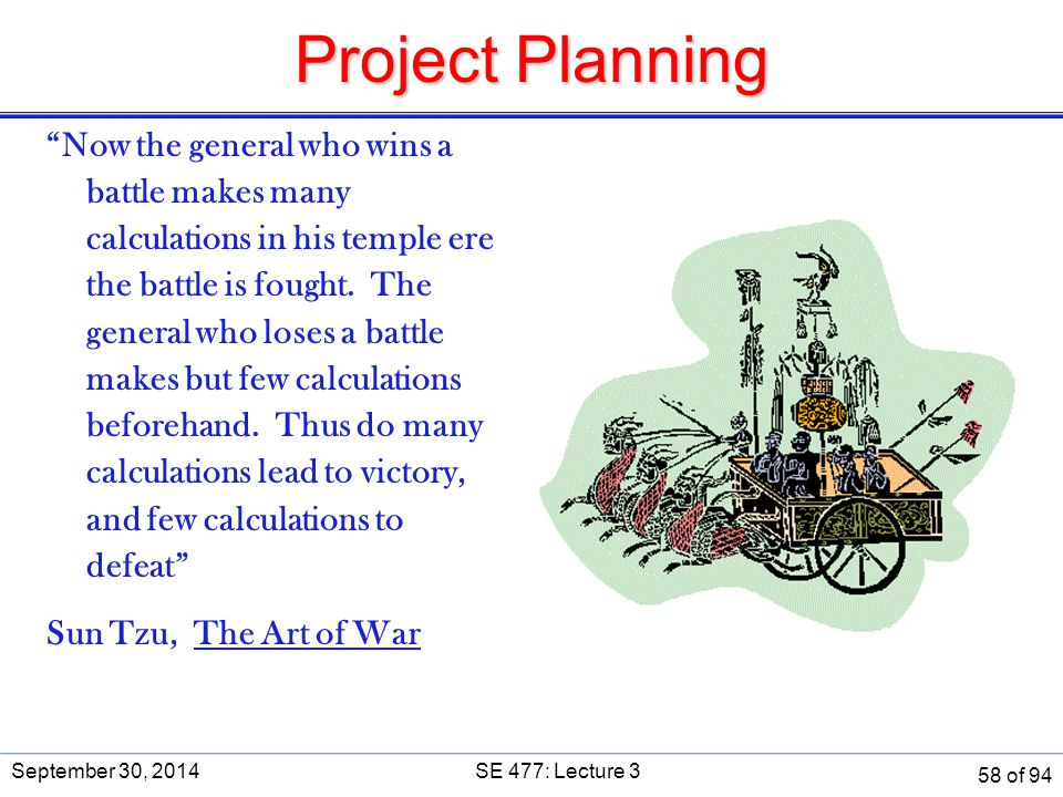 """Project Planning """"Now the general who wins a battle makes many calculations in his temple ere the battle is fought. The general who loses a battle mak"""
