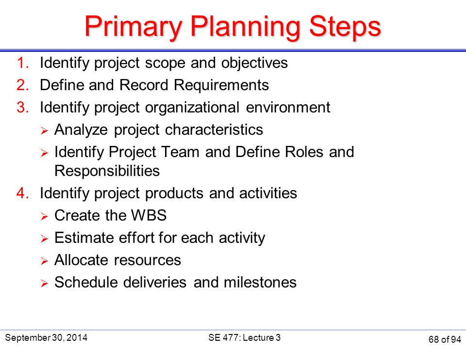Primary Planning Steps 1.Identify project scope and objectives 2.Define and Record Requirements 3.Identify project organizational environment  Analyz