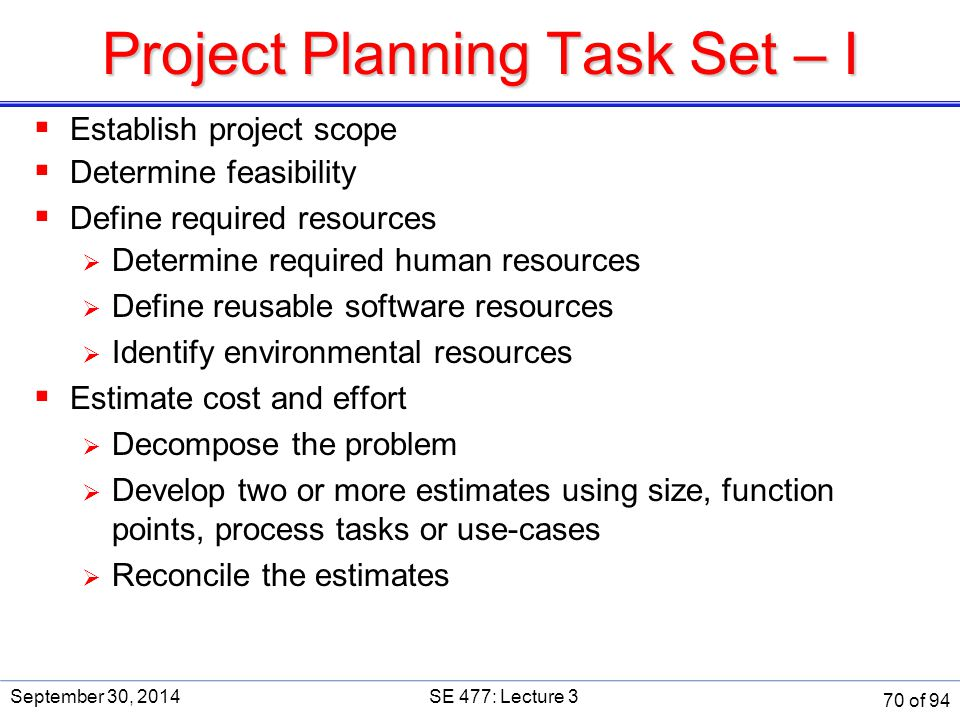 Project Planning Task Set – I  Establish project scope  Determine feasibility  Define required resources  Determine required human resources  Def