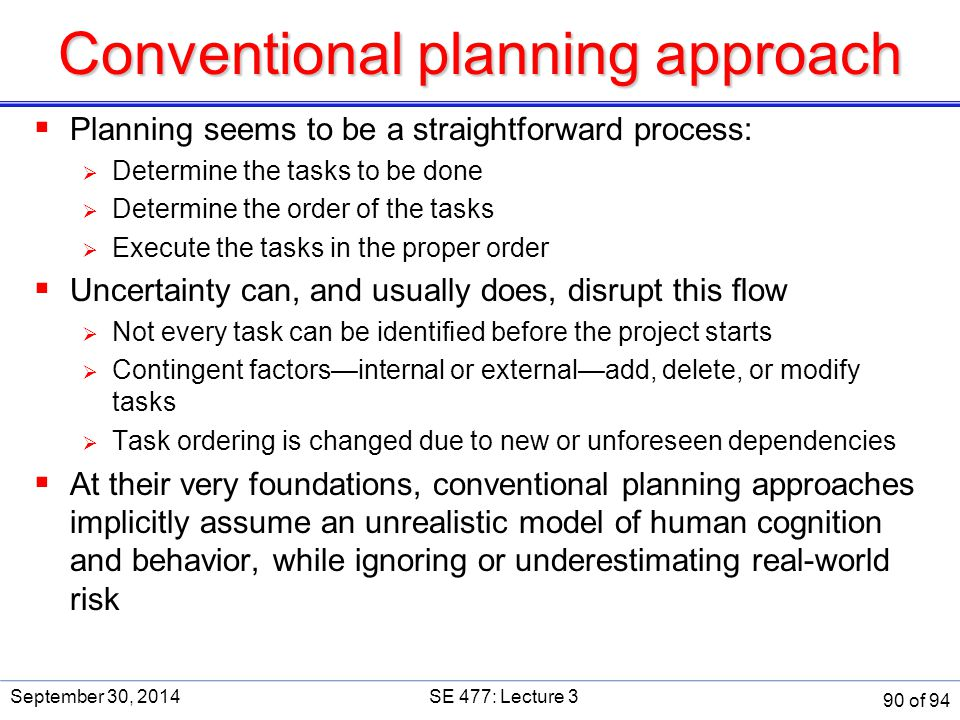 Conventional planning approach  Planning seems to be a straightforward process:  Determine the tasks to be done  Determine the order of the tasks 