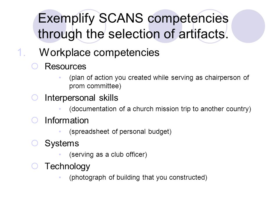 Exemplify SCANS competencies through the selection of artifacts. 1. Workplace competencies  Resources (plan of action you created while serving as ch