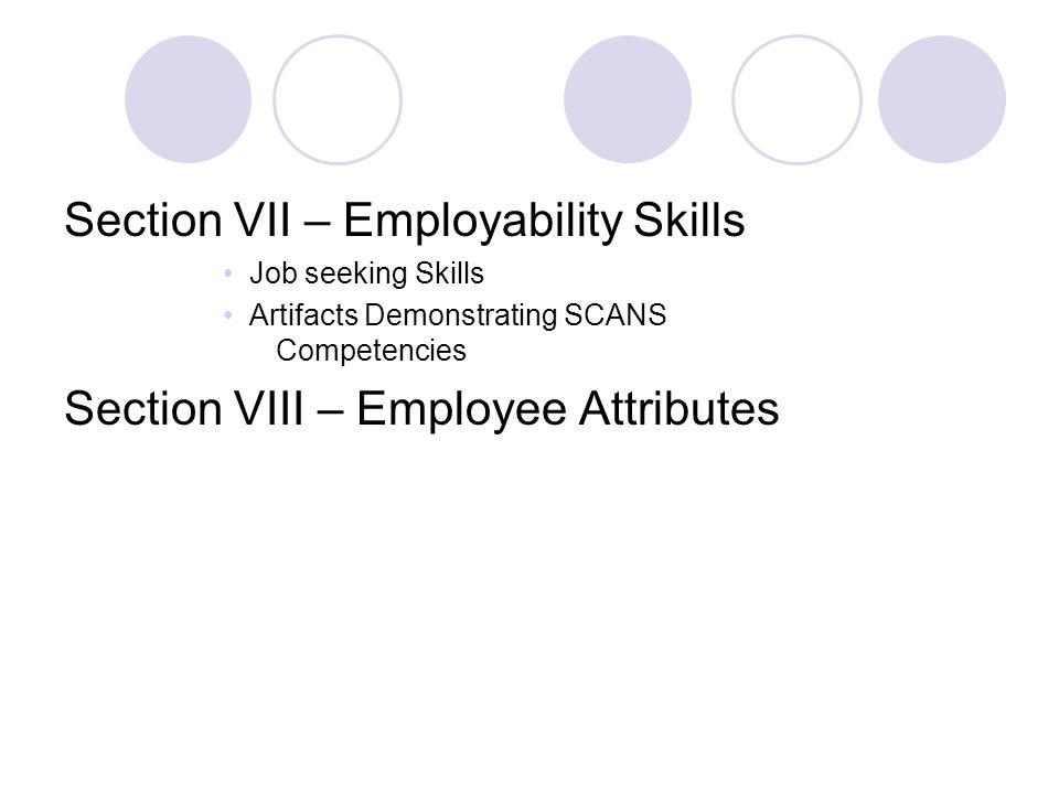 Section VII – Employability Skills Job seeking Skills Artifacts Demonstrating SCANS Competencies Section VIII – Employee Attributes