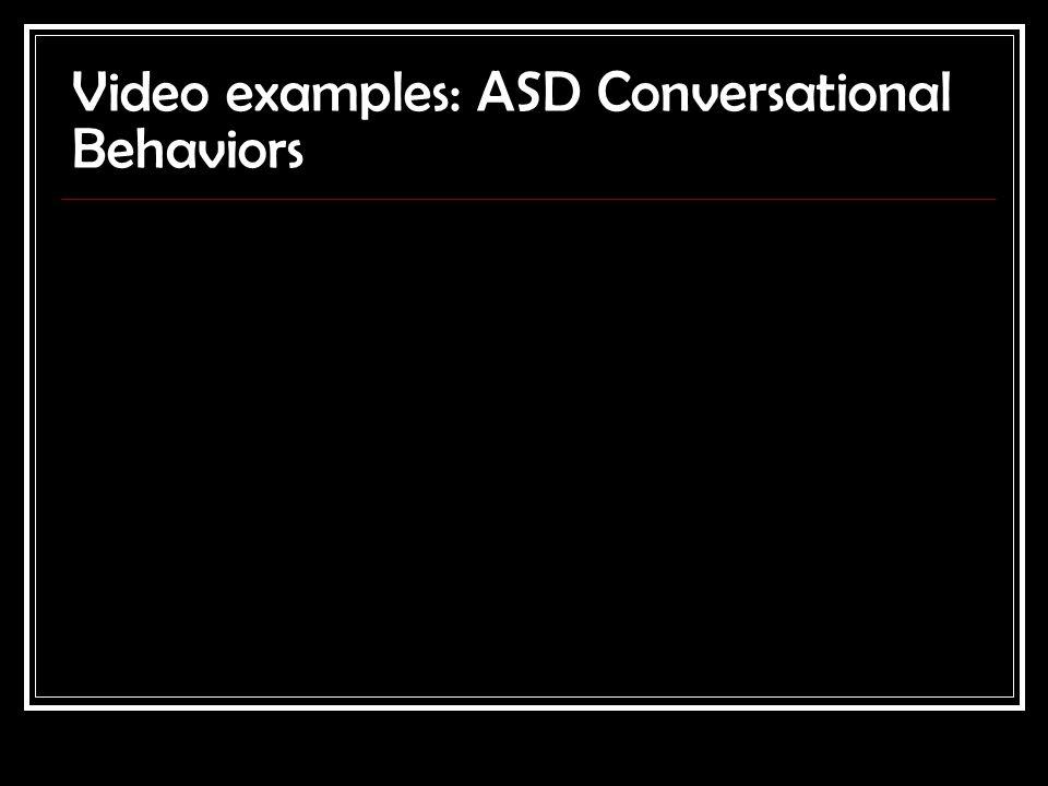 Video examples: ASD Conversational Behaviors