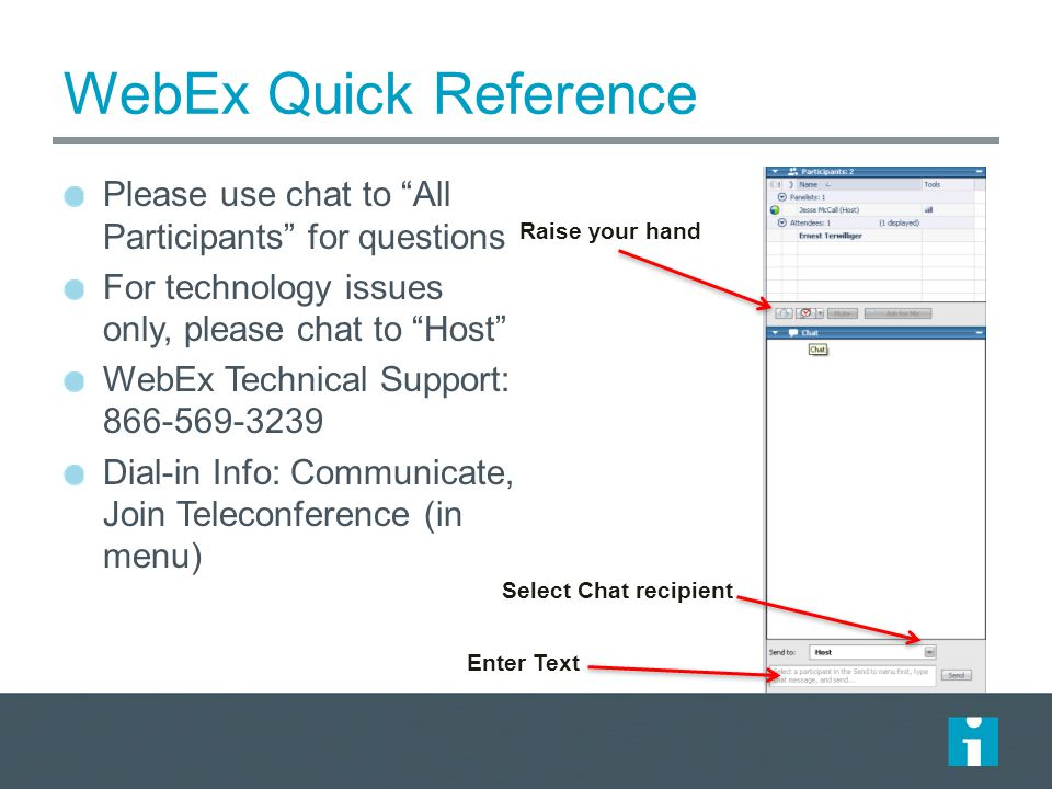 WebEx Quick Reference Please use chat to All Participants for questions For technology issues only, please chat to Host WebEx Technical Support: 866-569-3239 Dial-in Info: Communicate, Join Teleconference (in menu) Raise your hand Select Chat recipient Enter Text