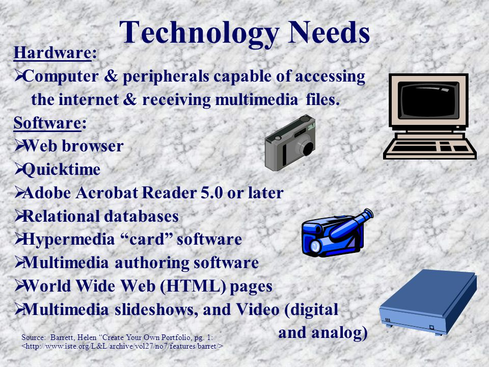 Technology Needs Hardware:  Computer & peripherals capable of accessing the internet & receiving multimedia files.