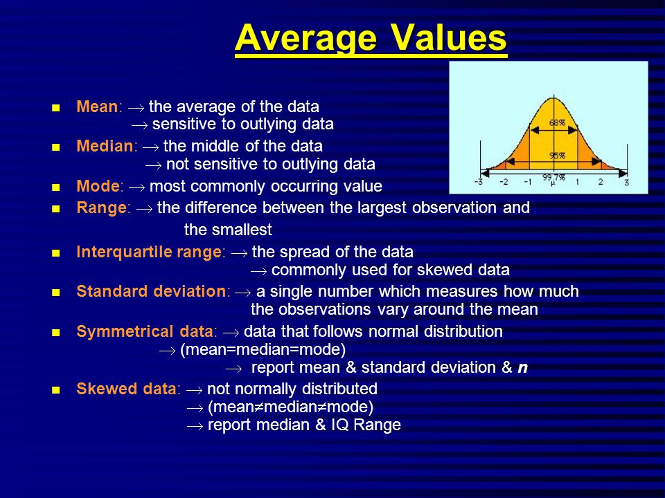 Average Values n Mean:  the average of the data  sensitive to outlying data n Median:  the middle of the data  not sensitive to outlying data n Mode:  most commonly occurring value n Range:  the difference between the largest observation and the smallest n Interquartile range:  the spread of the data  commonly used for skewed data n Standard deviation:  a single number which measures how much the observations vary around the mean n Symmetrical data:  data that follows normal distribution  (mean=median=mode)  report mean & standard deviation & n n Skewed data:  not normally distributed  (mean  median  mode)  report median & IQ Range