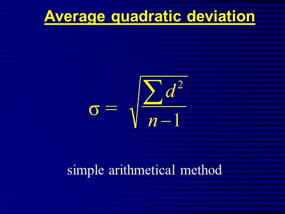 Average quadratic deviation σ = simple arithmetical method