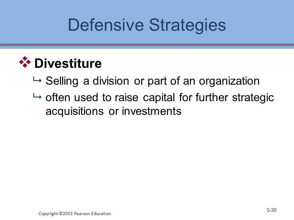 Defensive Strategies  Divestiture  Selling a division or part of an organization  often used to raise capital for further strategic acquisitions or