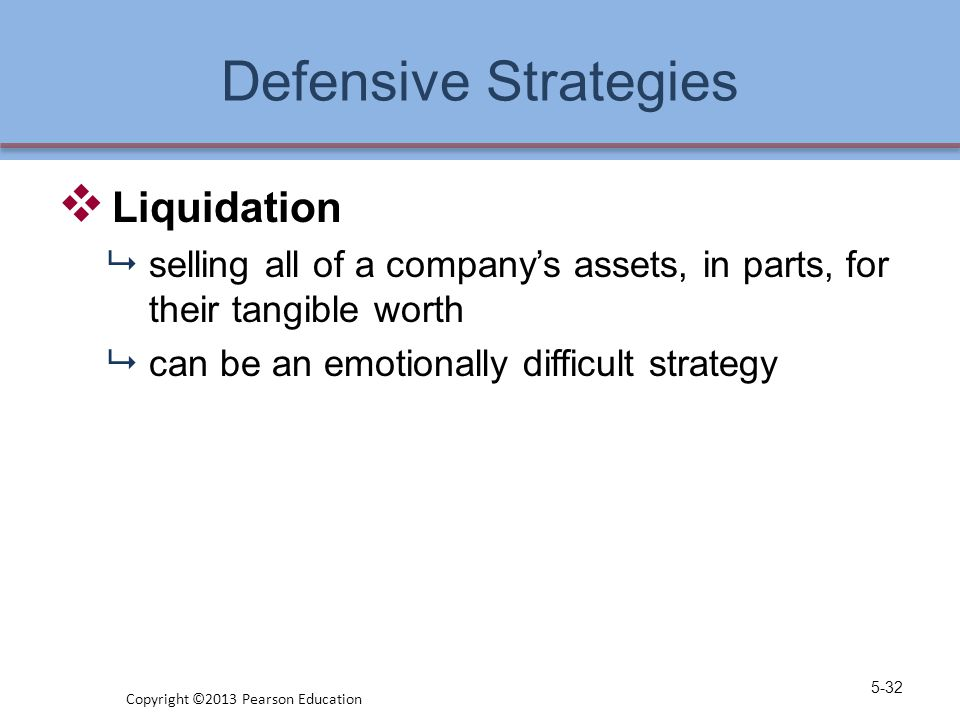 Defensive Strategies  Liquidation  selling all of a company's assets, in parts, for their tangible worth  can be an emotionally difficult strategy