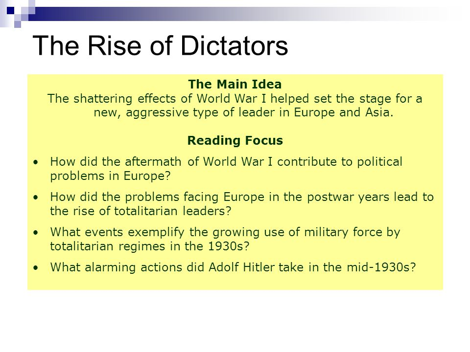 The Rise of Totalitarian Leaders European struggles and dissatisfaction during the postwar years had a major effect on European politics.