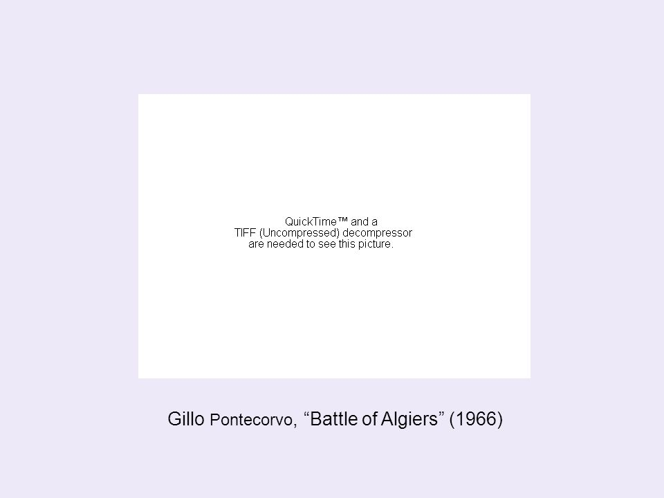 Battle of Algiers (1966) Gillo Pontecorvo Reconstructed events during the 1954-62 Algerian war of independence against French colonial rule (rule lasting 1830- 1962) The film shows the brutal apartheid that separated the French quarter from the Algerian district of the Casbah The film includes precise illustrations of the tactics of both the F.L.N.