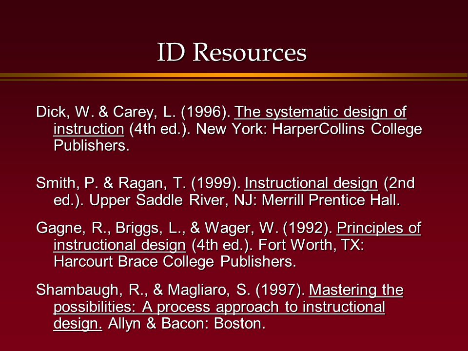 ID Resources Dick, W. & Carey, L. (1996). The systematic design of instruction (4th ed.).