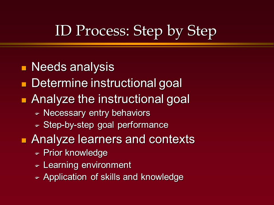 Components of Systems Approach Write performance objectives Write performance objectives  Very specific and measureable  Some include conditions Develop assessment instruments Develop assessment instruments  Emphasis on accurately measuring behaviors  Now rather than later...