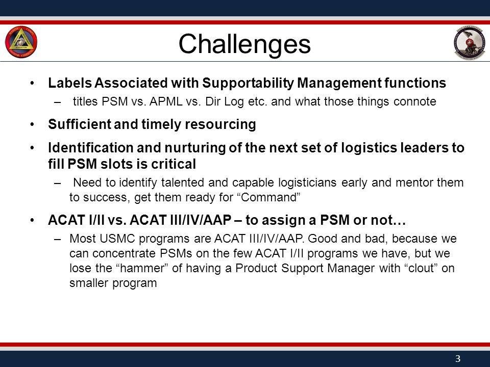 Challenges Labels Associated with Supportability Management functions – titles PSM vs.
