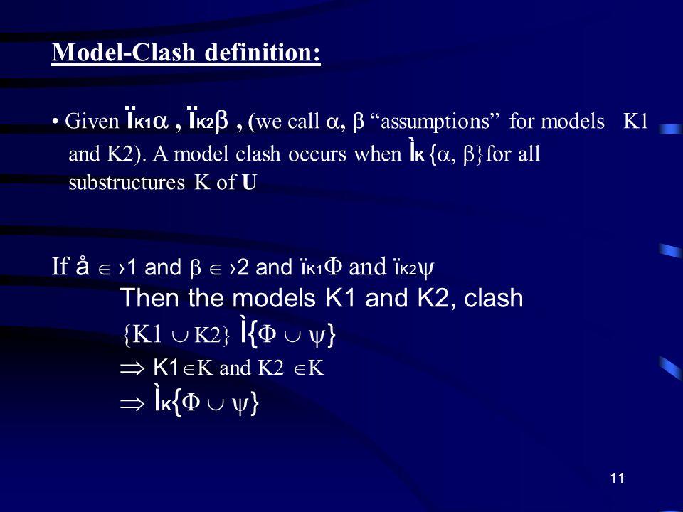 11 Model-Clash definition: Given ï K1 , ï K2 , (we call ,  assumptions for models K1 and K2).