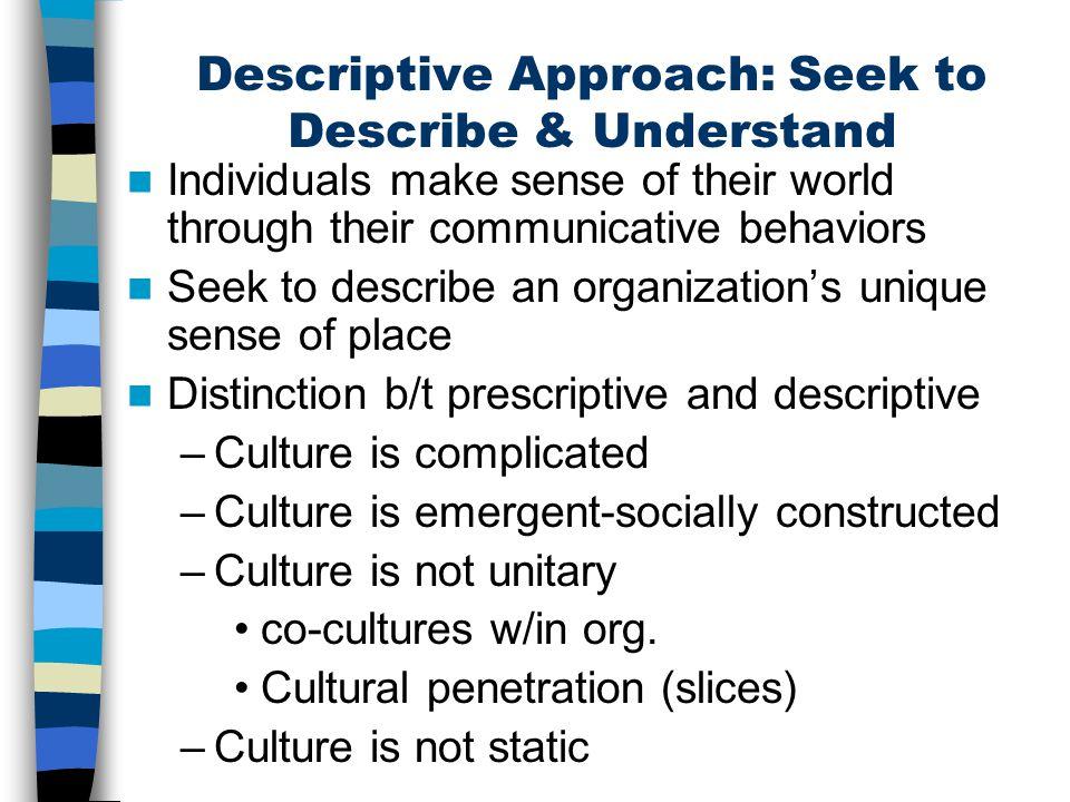 Descriptive Approach: Seek to Describe & Understand Individuals make sense of their world through their communicative behaviors Seek to describe an or