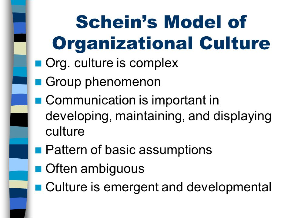 Schein's Model of Organizational Culture Org. culture is complex Group phenomenon Communication is important in developing, maintaining, and displayin