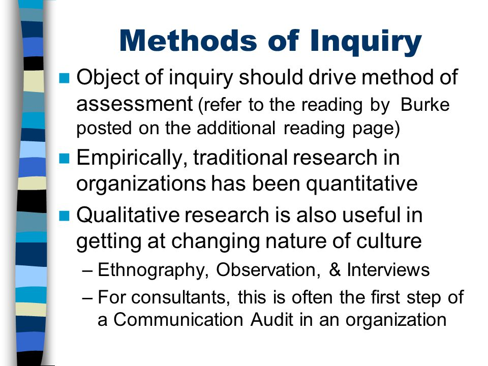 Methods of Inquiry Object of inquiry should drive method of assessment (refer to the reading by Burke posted on the additional reading page) Empirical