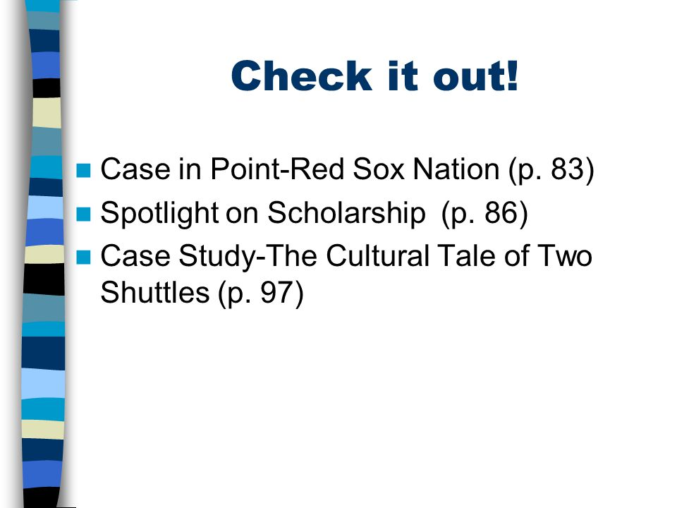 Check it out! Case in Point-Red Sox Nation (p. 83) Spotlight on Scholarship (p. 86) Case Study-The Cultural Tale of Two Shuttles (p. 97)
