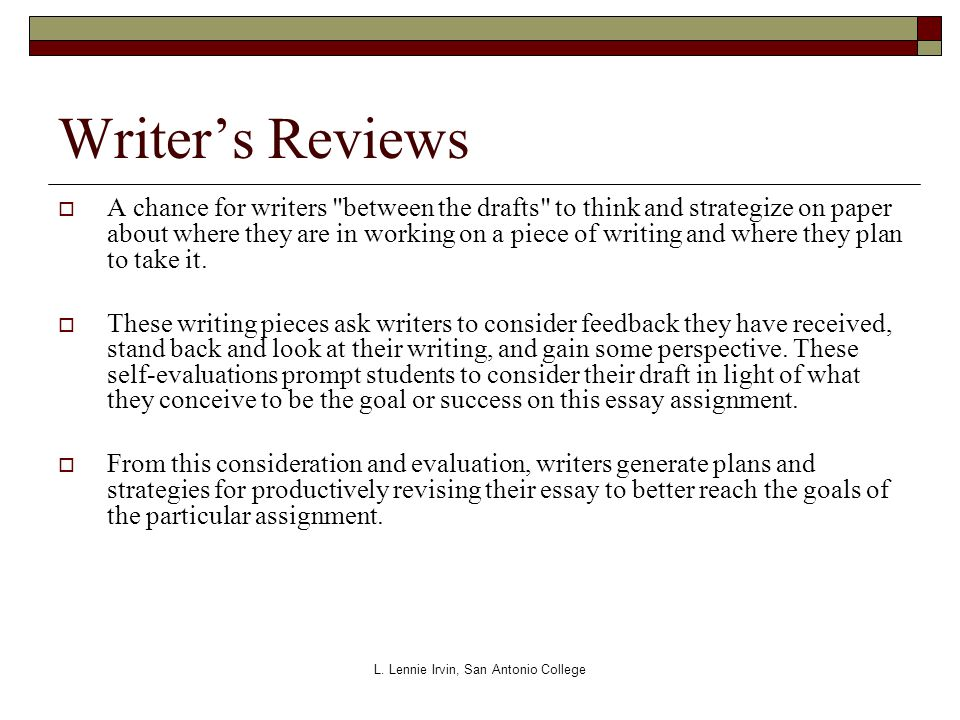 L. Lennie Irvin, San Antonio College Writer's Reviews  A chance for writers