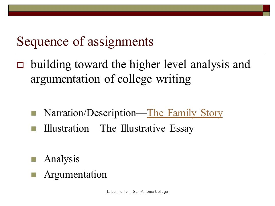 Sequence of assignments  building toward the higher level analysis and argumentation of college writing Narration/Description—The Family StoryThe Family Story Illustration—The Illustrative Essay Analysis Argumentation L.