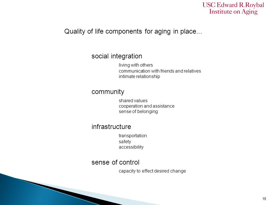 Quality of life components for aging in place... social integration living with others communication with friends and relatives intimate relationship