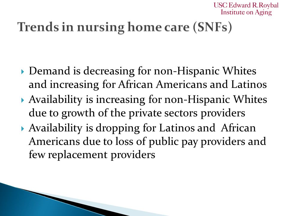  Demand is decreasing for non-Hispanic Whites and increasing for African Americans and Latinos  Availability is increasing for non-Hispanic Whites d