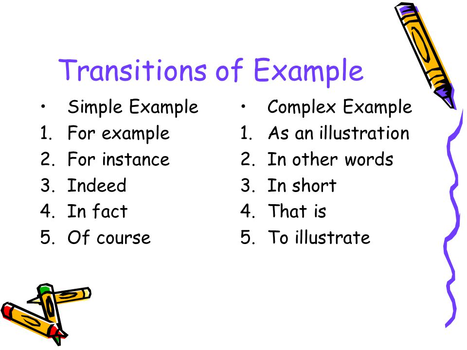 Transitions of Example Simple Example 1.For example 2.For instance 3.Indeed 4.In fact 5.Of course Complex Example 1.As an illustration 2.In other word