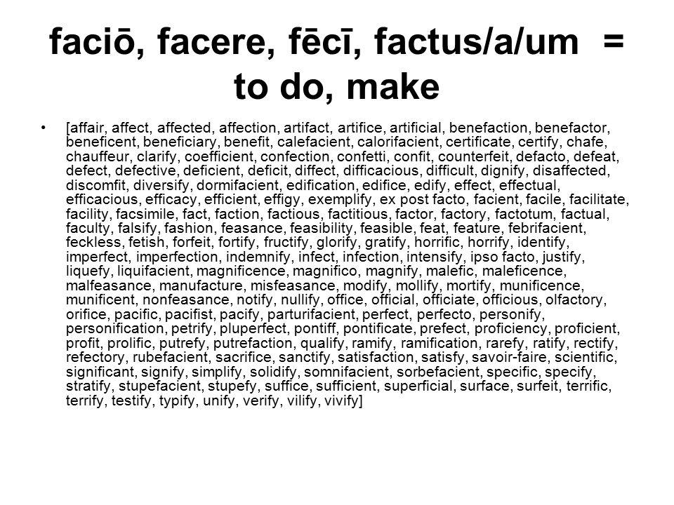 faciō, facere, fēcī, factus/a/um = to do, make [affair, affect, affected, affection, artifact, artifice, artificial, benefaction, benefactor, beneficent, beneficiary, benefit, calefacient, calorifacient, certificate, certify, chafe, chauffeur, clarify, coefficient, confection, confetti, confit, counterfeit, defacto, defeat, defect, defective, deficient, deficit, diffect, difficacious, difficult, dignify, disaffected, discomfit, diversify, dormifacient, edification, edifice, edify, effect, effectual, efficacious, efficacy, efficient, effigy, exemplify, ex post facto, facient, facile, facilitate, facility, facsimile, fact, faction, factious, factitious, factor, factory, factotum, factual, faculty, falsify, fashion, feasance, feasibility, feasible, feat, feature, febrifacient, feckless, fetish, forfeit, fortify, fructify, glorify, gratify, horrific, horrify, identify, imperfect, imperfection, indemnify, infect, infection, intensify, ipso facto, justify, liquefy, liquifacient, magnificence, magnifico, magnify, malefic, maleficence, malfeasance, manufacture, misfeasance, modify, mollify, mortify, munificence, munificent, nonfeasance, notify, nullify, office, official, officiate, officious, olfactory, orifice, pacific, pacifist, pacify, parturifacient, perfect, perfecto, personify, personification, petrify, pluperfect, pontiff, pontificate, prefect, proficiency, proficient, profit, prolific, putrefy, putrefaction, qualify, ramify, ramification, rarefy, ratify, rectify, refectory, rubefacient, sacrifice, sanctify, satisfaction, satisfy, savoir-faire, scientific, significant, signify, simplify, solidify, somnifacient, sorbefacient, specific, specify, stratify, stupefacient, stupefy, suffice, sufficient, superficial, surface, surfeit, terrific, terrify, testify, typify, unify, verify, vilify, vivify]