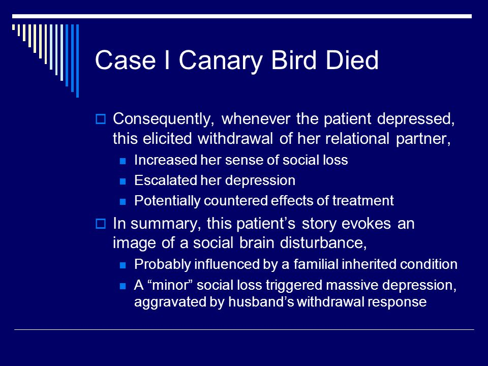 Case I Canary Bird Died  Consequently, whenever the patient depressed, this elicited withdrawal of her relational partner, Increased her sense of social loss Escalated her depression Potentially countered effects of treatment  In summary, this patient's story evokes an image of a social brain disturbance, Probably influenced by a familial inherited condition A minor social loss triggered massive depression, aggravated by husband's withdrawal response