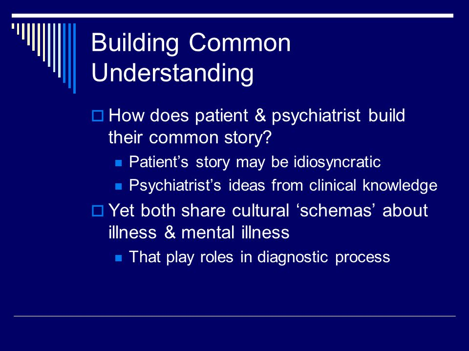 Building Common Understanding  How does patient & psychiatrist build their common story.